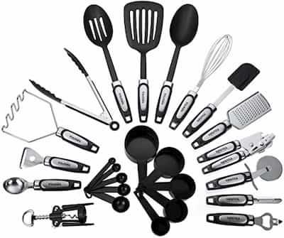 Steel & Nylon Utensil Set for stainless steel cookware