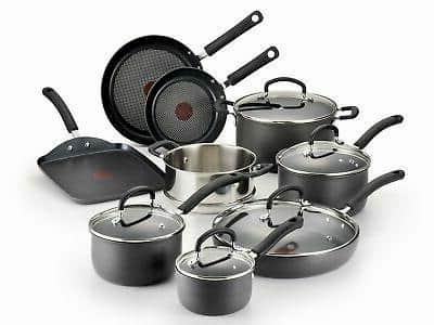 T-fal Ultimate Hard Anodized 14 Piece Cookware Set for large family