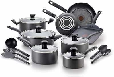 T-fal 18 piece cookware set for large family