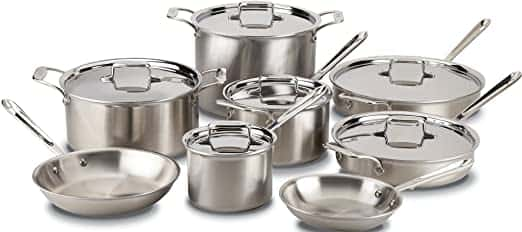 All-Clad Bonded Dishwasher Safe Cookware Set To Use With Metal Utensils