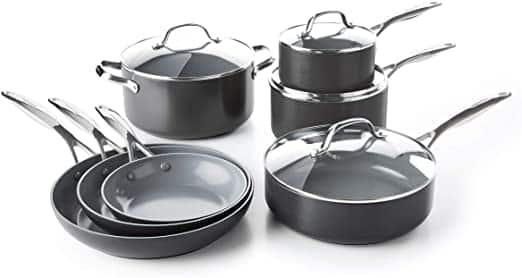 GreenPan Valencia Pro Ceramic Metal Utensil Cookware Set To Use With Metal Utensils